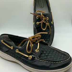 Women's black Sperry boating shoes